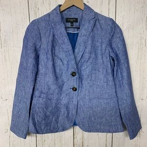 Talbots blue linen double button spring blazer 2p